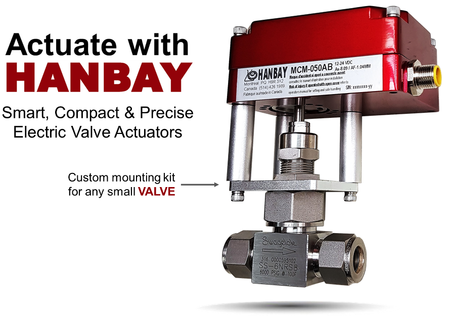 Automate Needle, Metering and Ball valves with Hanbay Actuators